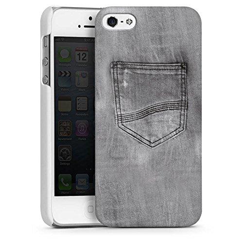 Apple iPhone 5s Housse Étui Protection Coque Style jeans Pantalon Gris CasDur blanc