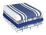 Clinique du coton Torchons de Cuisine Absorbant 40 x 70 cm, 100% Coton Serviettes de Cuisine qualité Professionnelle, Lavable en Machine, Bleu Blanc - Lot de 5