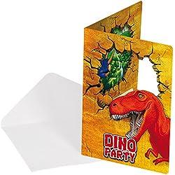 Juego de 12 piezas de invitaciones cumpleaños de Dinosaurio T Rex . 6 tarjetas y 6 sobres