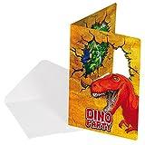 Folat 12-Teiliges Einladungen-Set * Dinosaurier * mit 6 Einladungskarten und