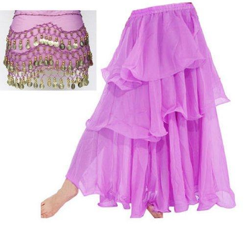 A-Express® gonna per danza del ventre, tango, samba, danze tribali e gitane, lunga a tre strati Lilac WITH Belt