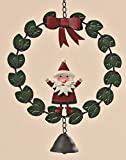 kuheiga Türkranz H: 36cm Weihnachtsmann mit Glocke Stehend Kranz Zum Hängen Dekokranz