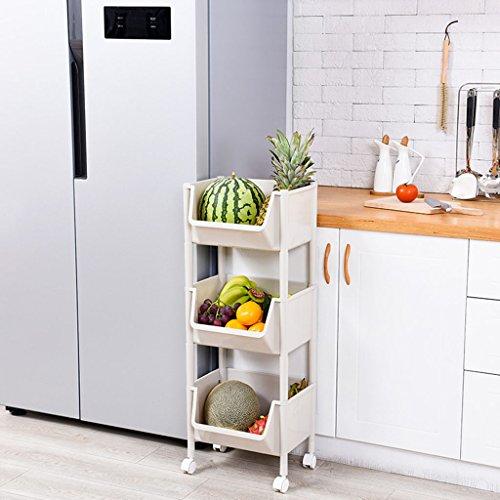 Küche Bad Regal Küche Gemüse Racks Lagerregal 3-stöckige Startseite Obst und Gemüse Lagerregal Obst Ablagekorb Speicherorganisator (Color : A) -