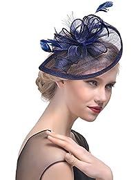 StageOnline Sombrero Tocado Pelo Elegante Pluma Clip Hat Boda Coctel Malla  Neto Velo Diadema para Mujer 4c4c01f84b5