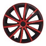 (Größe wählbar) 15 Zoll Radkappen / Radzierblenden GRALO MATT (Schwarz-Rot) passend für fast alle Fahrzeugtypen – universal