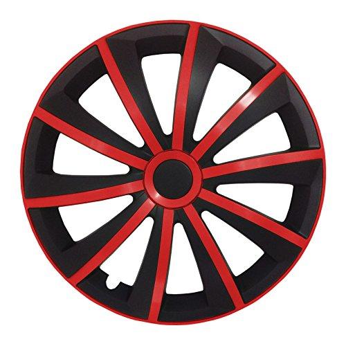 (Größe wählbar) 16 Zoll Radkappen / Radzierblenden GRALO MATT (Schwarz-Rot) passend für fast alle Fahrzeugtypen - universal - Rote Schwarze Felgen Und