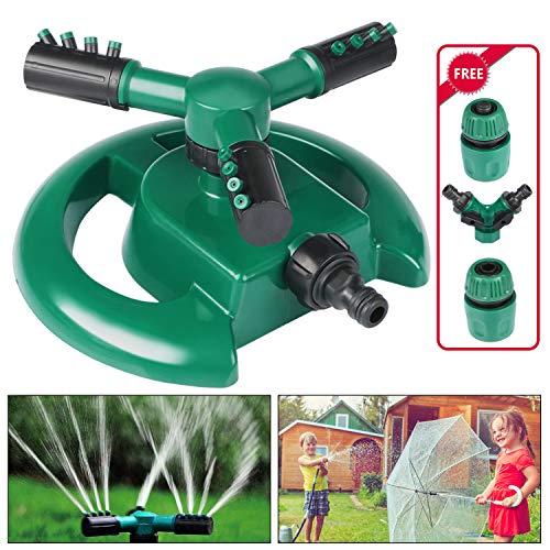 Emooqi Garten Sprinkler, Rasen Sprinkler Automatische 360 Grad 3-Arm Rotierende Wasser Sprenger Mit Y-förmigem Wasseranschluss für Rasen, Gärten, Pflanzen, kühle Dächer, Pflanzen, Blumen