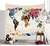 WSXZ Schöne Farbige Weltkarte Wandteppiche Funkelnde Sterne Symbol Wandkunst Tapisserie Vintage Aquarell Wandbehang Globale Weltkarte Wanddecke Retro Hippie Tapisserie PATTERN2 59 * 51in