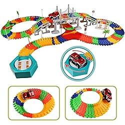 Circuito Coches Juguete Pista de Coche Eléctrico DIY Conjunto de Juguete para Niños (192 Piezas)