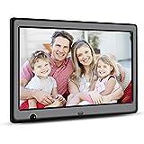 Apzka 10 Zoll HD Digitaler Bilderrahmen mit Eingebautem 2GB Speicherung- und Bewegungssensoren, MP3- und Video-Wiedergabe mit Autodrehung/Kalendar/Uhr Funktion mit Fernbedienung (10-Zoll Schwarz)