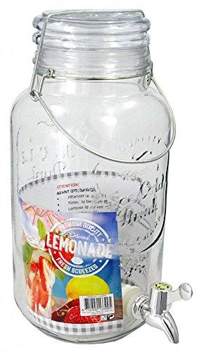Glas Getränkespender mit Bügelverschluss und Zapfhahn 4L Dispenser Robust (Dispenser Klar Drink)
