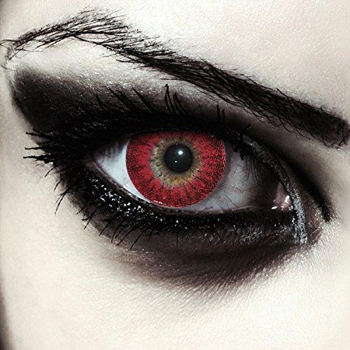 """Lentillas de color rojo para Halloween hombre-lobo lentillas sin dioprtías / corregir + gratis caso de lente """"Red Werewolf"""""""
