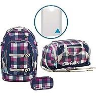 Satch Sac à dos d'écolier Set de 4Pièces Pack blackberry Carry 966Motif carreaux Mauve/Bleu