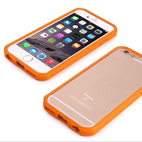 Coque iPhone 6S, SAVFY® Coque iPhone 6 / 6s [Dual Layer] Coussin d'Air [Ultra Clair] Case Cover arrière transparente avec Bumper TPU Motif Diamant (Orange) + Film d'écran + Stylet pour Apple iPhone 6  Orange