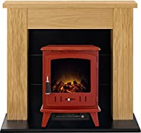 Adam Chester Stove Suite in Oak with Aviemore Electric Stove in Red, 39 Inch
