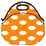 Snoogg Yellow Polka Dot Travel Outdoor Carry Lunch Bag Picnic Tote Box Container Zip Out Removable Carry Lunchbox Handle Tote Lunch Bag Food Bag For School Work Office