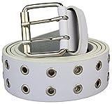 Nietengürtel in weiß Jeansgürtel Gürtel für Damen und Herren 2 reihig  Bundweite 110cm = Gesamtlänge 125cm  3,7cm breit