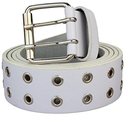 Alex Flittner Designs Nietengürtel in weiß Jeansgürtel Gürtel für Damen und Herren 2 reihig | Bundweite 95cm = Gesamtlänge 110cm | 3,7cm breit