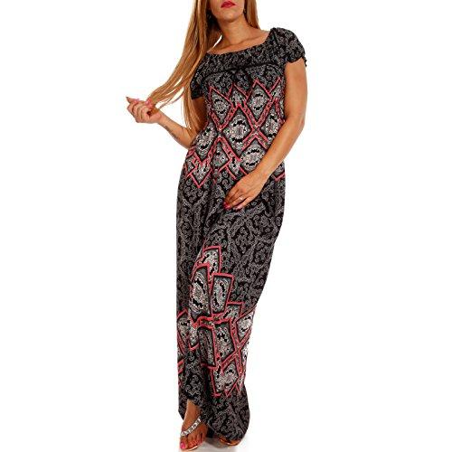 leid Carmen Kurzarm und mit Ausschnitt - als Stylisches Strand-Kleid Oder Party-Kleid, Farbe:Schwarz, Größe:XL/XXL = 38/40 (Ausgefallenes Kleid Hippie)