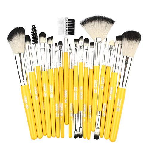 Kit De Pinceau Maquillage Professionnel18Pcs Fondation en Bois CosméTique Sourcils Fard à PaupièRes Brosse Maquillage Pinceau Ensembles De Outils Pinceau à LèVre avec Sac Nois