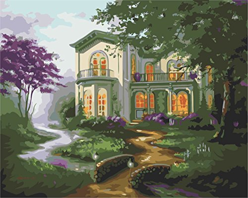 IPLST@ Senza cornice digitale dipinti ad olio da Numeri, paesaggio moderno il paese Cottage Wall Art decalcomanie, DIY Pittura a olio Kit -16x20 inch