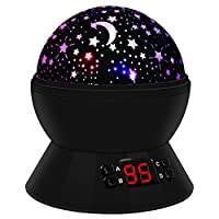 Night Light Lamp, 360 Rotating Round Night Light Projector Lamp (Star Moon Sky Projector, Timer Control, USB Battery Powered) Romantic Home Decoration Lamp Great Gift for Children by Rebirthday