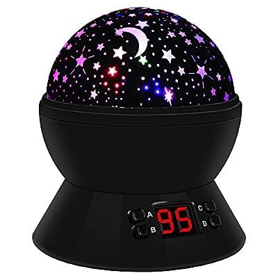Sternenhimmel Projektor Lampe, LED Nachtlicht Baby Rotierend mit 4 LED Birnen, 8 Licht Modus und 2 Energieversorgung, Timer-Schalter Sky-Star Night Light für Kinder Erwachsenen Schlafzimmer