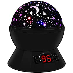 Lámpara Infantil, 360 ° Girar Romántica Lámpara de Noche con 4 LED, 8 Modos Cielo Estrellado Lámpara Proyector, USB y con Pilas, Gran Regalo para Niños, Adultos (Negro)