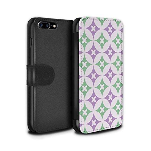 Stuff4 Coque/Etui/Housse Cuir PU Case/Cover pour Apple iPhone 7 Plus / Rose/Bleue Design / Kaléidoscope Collection Violet / Vert