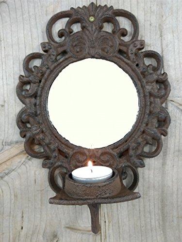 Wandkerzenhalter aus Gusseisen mit Spiegel - Wandkerzenständer