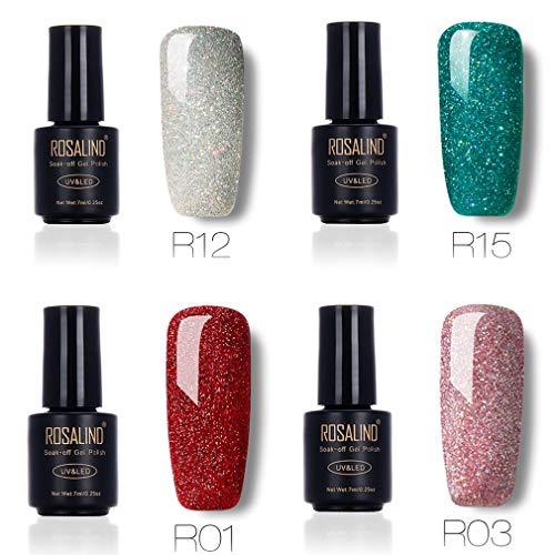 Nail Salon Sets Rainbow Glitter Gel Nagellack UV & LED Soak Off Gel Lack Semi-Permanent Nagellack 4Flaschen, 7ml