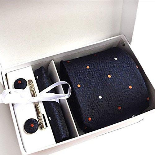 Estyle Fashion Neu Herren - 6er Set Paisley Krawatten Set Einstecktuch Manschettenknöpfe Krawattenklammer Mit Geschenkbox Dunkelblau F