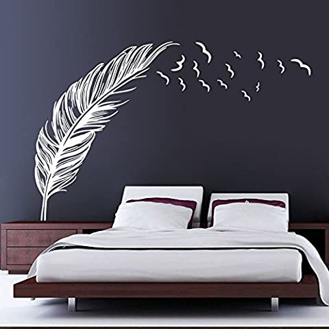 Ferris Store DIY PVC Feather With Flying Birds Wall Sticker Home Decal Mural Art Decor Wall Stickers Left