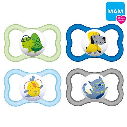 MAM Air Silikon Schnuller Boy Mix 6-16 Monate // 4er Set // inkl. 2 Sterilisiertrasportboxen (Air Schnuller Mam)
