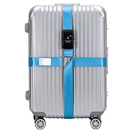 CSTOM Croix TSA Verrouillage Sangle à Bagage Sangles de Voyage Valise Bagages - Sky Bleu