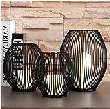 Esporta in stile europeo semplice portacandele in ferro battuto Lanterna astratta nero Home Shop Furnishings Ornamenti decorativi, 19.5 * 11.5 * 24.5 cm