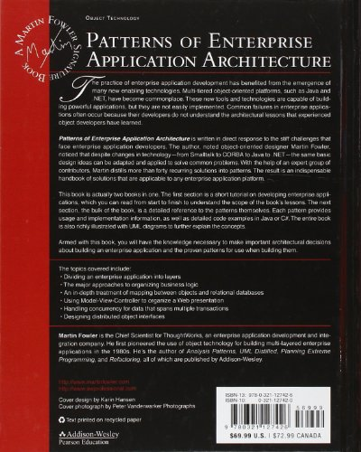 Patterns of Enterprise Application Architecture Martin Fowler