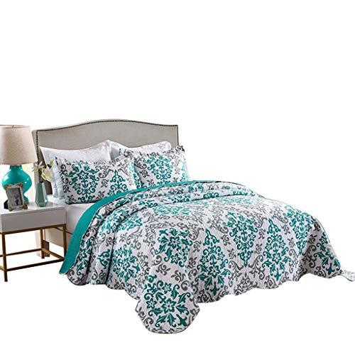 mplett gesteppt Blumenmuster Quilts Tagesdecke Bettwäsche coverlets Set, Polyester-Mischgewebe, Katrina Blue, King Size ()