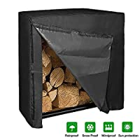 2win2buy Log Rack Cover, Heavy Duty Waterproof Firewood Cover 4ft 600D Oxford Cloth Duarble Fabric Outdoor UV Resistant Sun Snow Rain Water Protection All Weather Resistant, L48xW26xH43 Inches Black