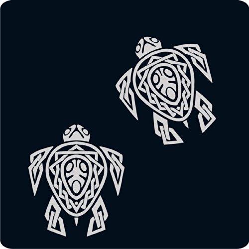 (kleb-drauf® - 2 Schildkröten / Weiß - matt - Aufkleber zur Dekoration von Autos, Motorrädern und allen anderen glatten Oberflächen im Außenbereich; aus 19 Farben wählbar; in matt oder glänzend)