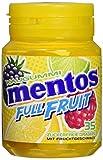 Mentos Kaugummi Full Fruit | Zuckerfrei in den Sorten Orange-Zitrone, Himbeere-Kiwi und Waldfrucht-Limette | 6er Box Kaugummi-Dragees