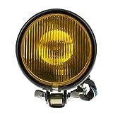 Retro 5 inch Faro Anteriore Ambra del Motociclo con Vetro Giallo per Harle - giallo nero