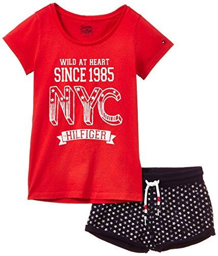 Tommy Hilfiger Mädchen Zweiteiliger Schlafanzug Lulu Pj Set, Gr. 128 (Herstellergröße: 8), Rot (Lipstick Red Pt) (Mantel Set Pj)