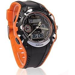 PIXNOR Alike AK9132 Waterproof Children's Dual Time Sports LED Quartz Wrist Watch with Stopwatch (Orange+Black)