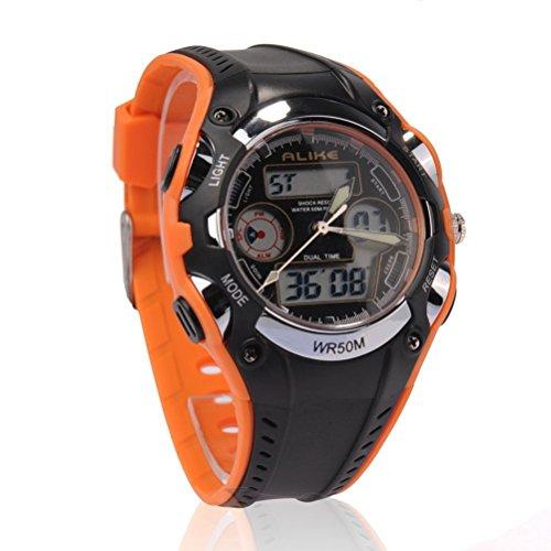 PIXNOR Gleichermaßen AK9132 wasserdichte Studenten Kinder Dualzeit Sport LED Quarz-Armbanduhr mit Datum Alarm Stoppuhr (Orange + Schwarz)