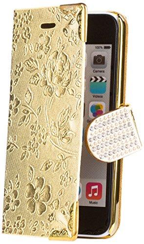 iCues Apple iPhone 5C |  Chrom Blumen Tasche Pink | [Display Schutzfolie Inklusive] Floral Strass Glitzer Glitter Luxus Bling Damen Frauen Mädchen Chrome Book Klapphülle Schutz Etui Handytasche zum au Chrome Wallet Gold