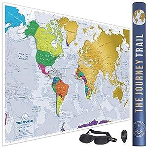 Mapa Mundi para Rascar más grande (84x59cm) y con más destinos – Póster de papel de gran calidad, más grueso y capa de protección – Incluye Antifaz para un sueño profundo y reparador