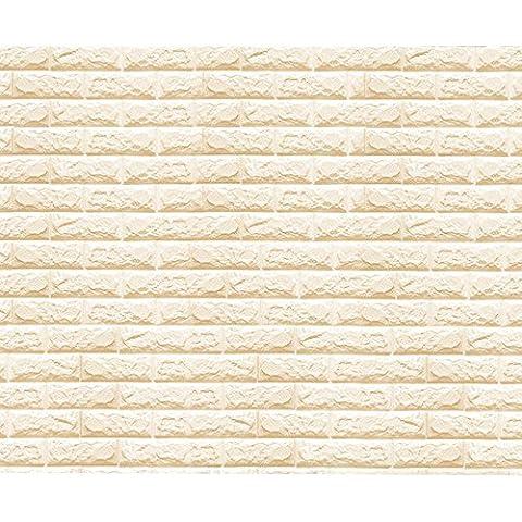 Eizur 3D Imitation Brique Stickers Muraux Papier Peint Home Decor Autocollants étanches Amovible Stéréoscopique Décorations pour TV Fond Chambre Restaurant Murales Salle de Séjour Taille 70*77cm--Beige