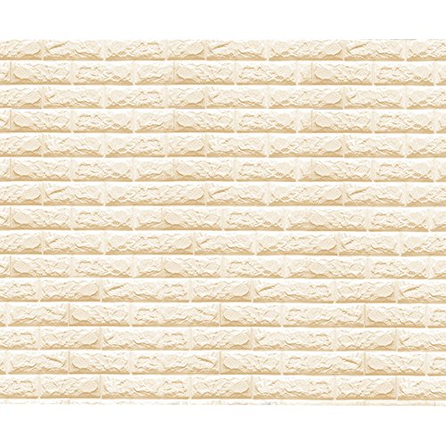 Eizur Abnehmbare 3D Imitation Brick Wandaufkleber Wall Sticker Stereoskopisch Wandtattoo Wasserdicht Kunst Dekoration TV Background Deko Beige - 70 * (Schaum Krone Prinzessin)