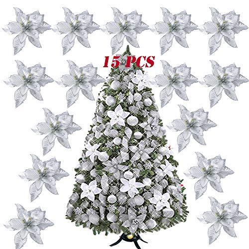Serwoo (dia. 15cm) 15pz fiore artificiale natale per albero argento finti natalizi decorazione addobbi ornamenti natalizie